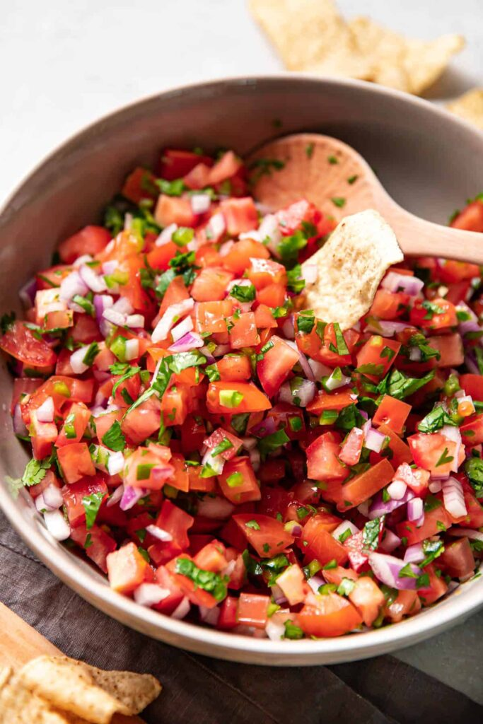 pico de gallo in a bowl.