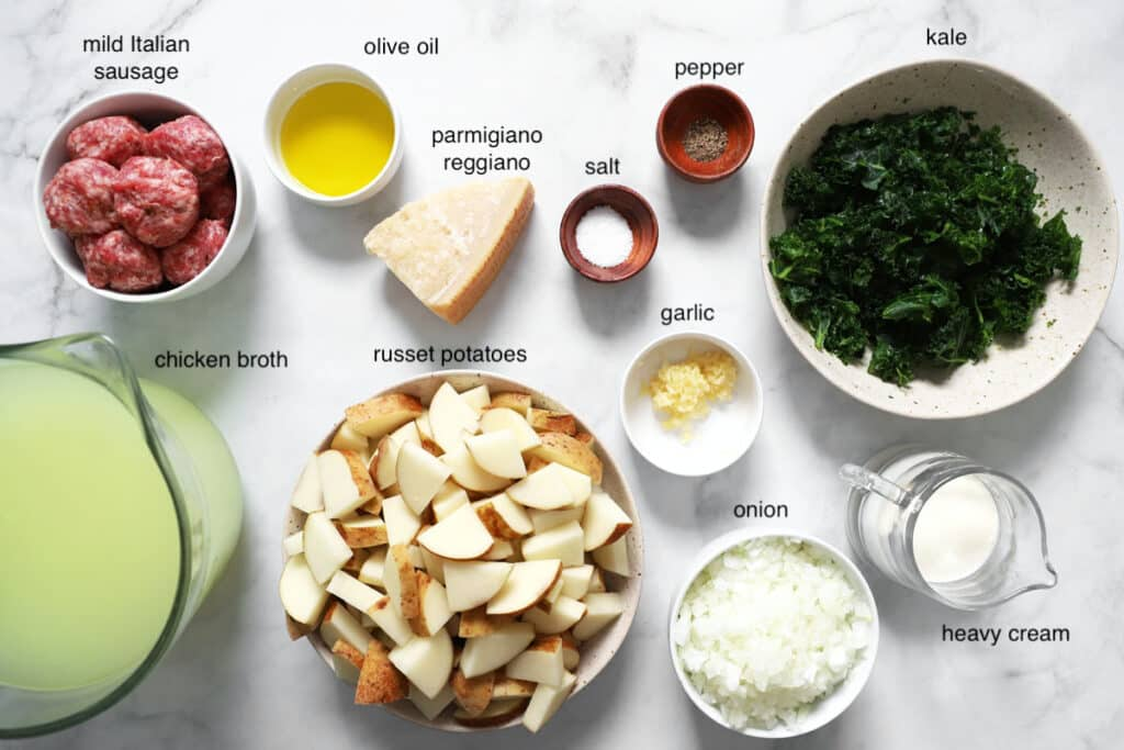zuppa toscana ingredient list items on table
