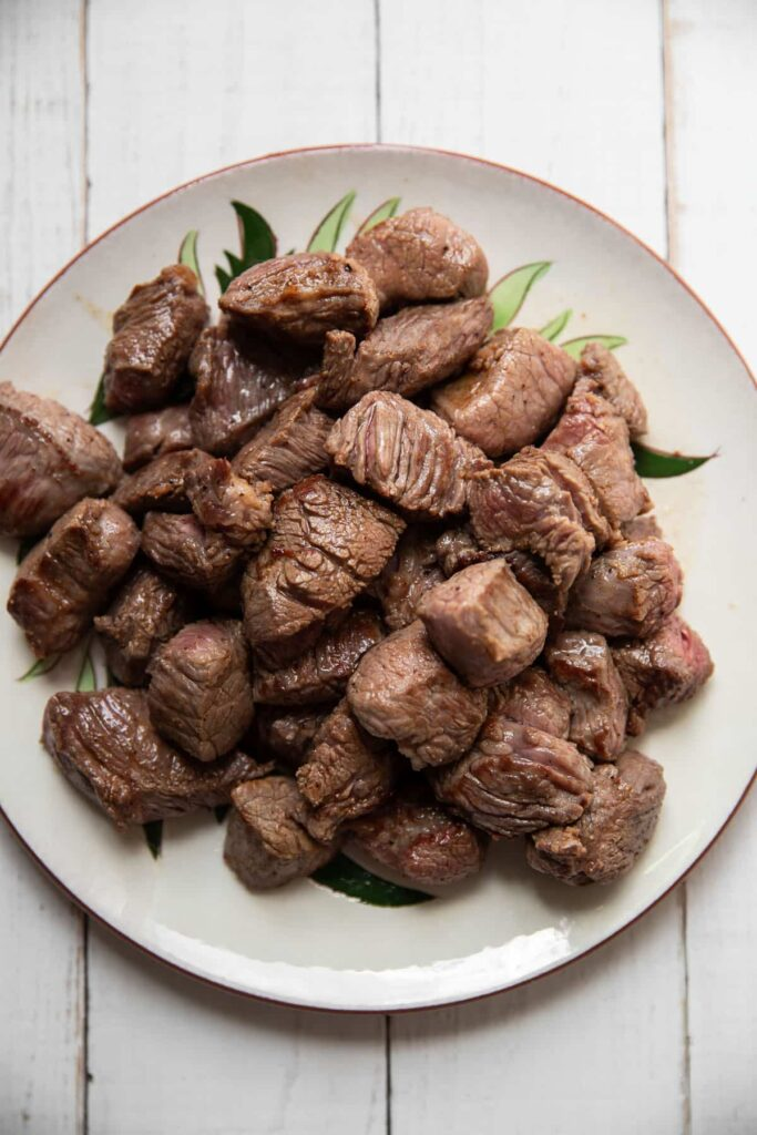 pieces of stew meat with all sides seared