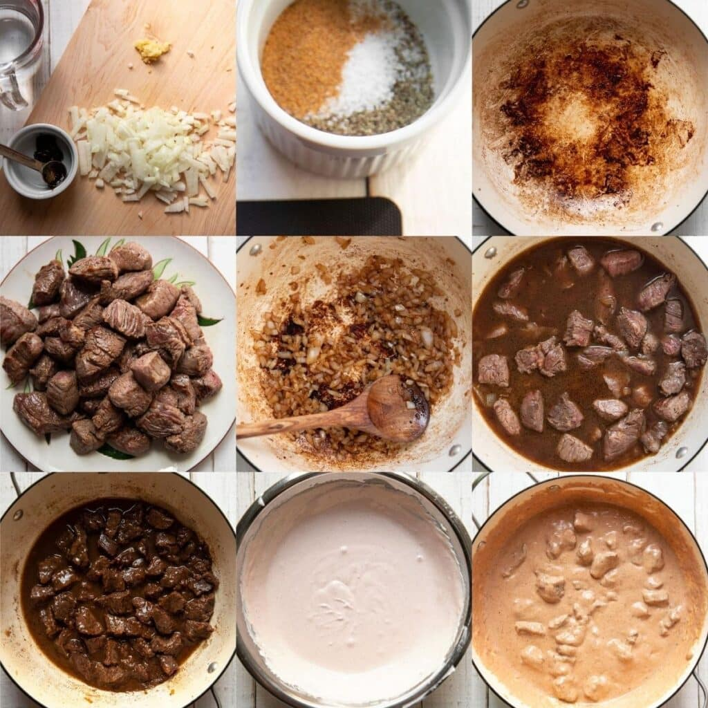 step by step photos of how to make beef stroganoff