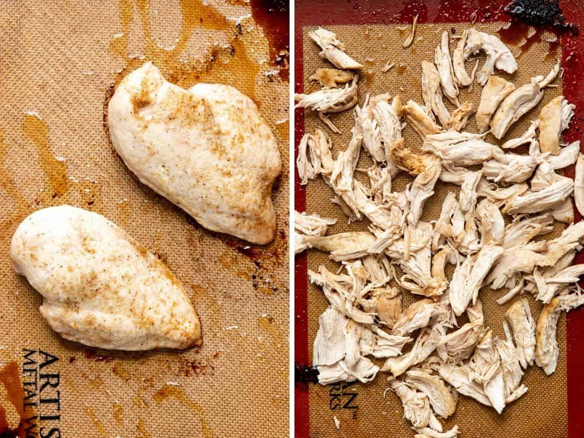 chicken shredded on a sheet pan.