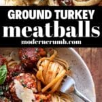ground turkey meatballs and linguine pasta in a bowl
