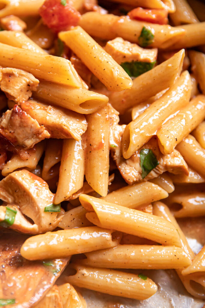 Close up image of lemon basil chicken pasta.