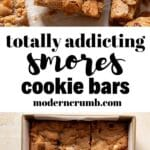 smores cookie bars pinterest image with text overlay