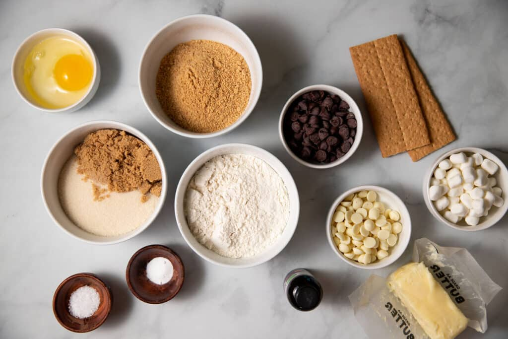 ingredients laid out to make s'mores cookie bars