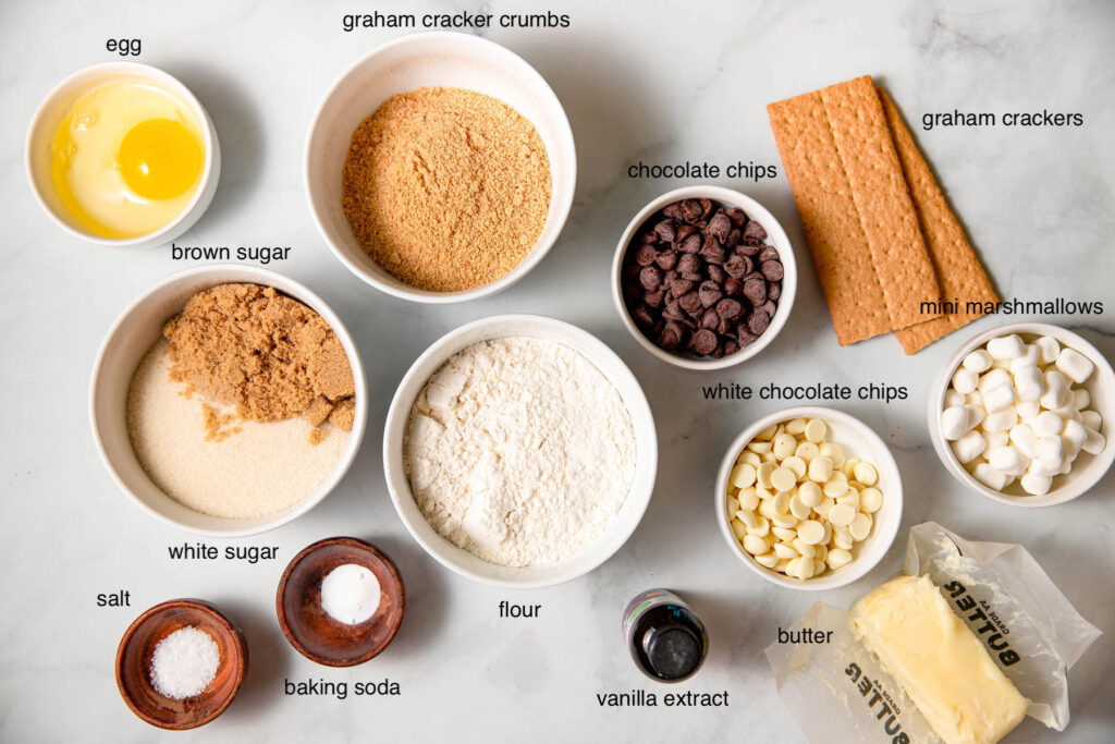 ingredients laid out for smores cookie bars.
