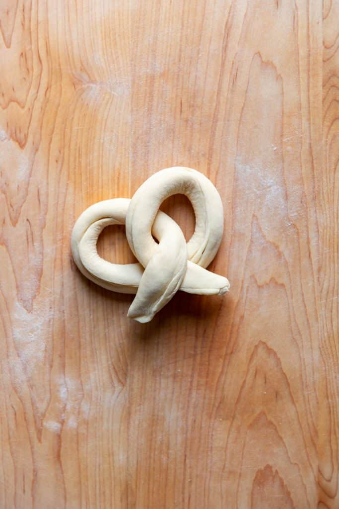 pretzel before baking
