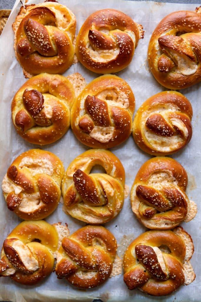 pretzels on a baking sheet after baking