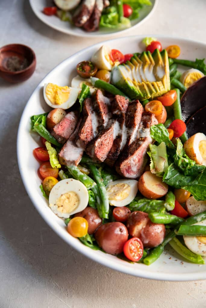 steak and vegetables in a bowl for dinner