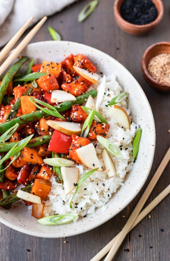 spicy korean chicken and rice in a bowl