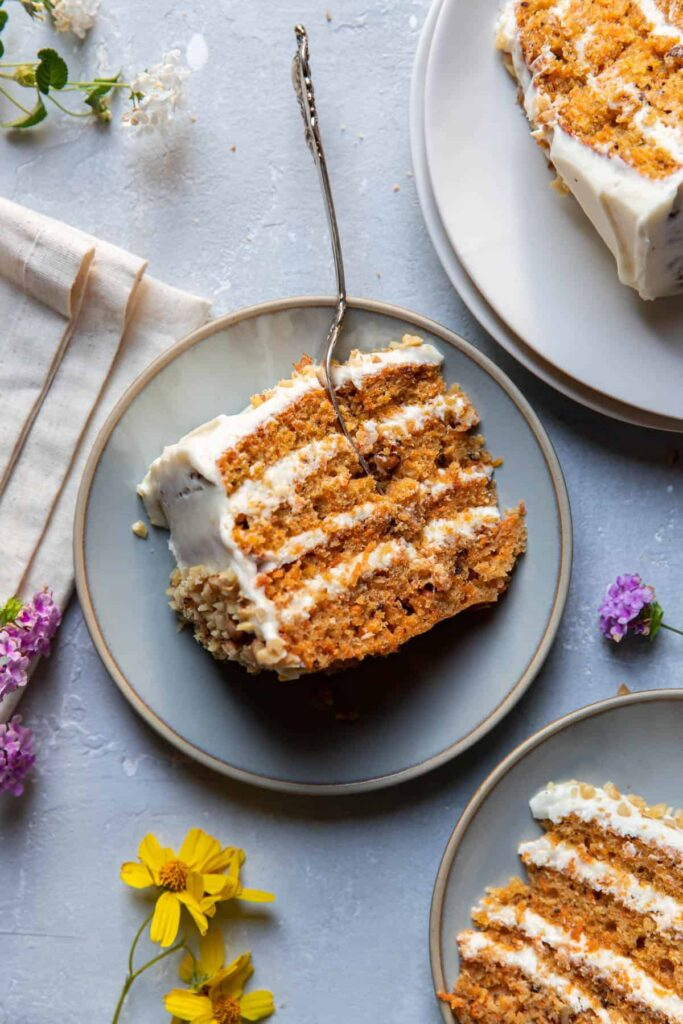 carrot cake on a plate.