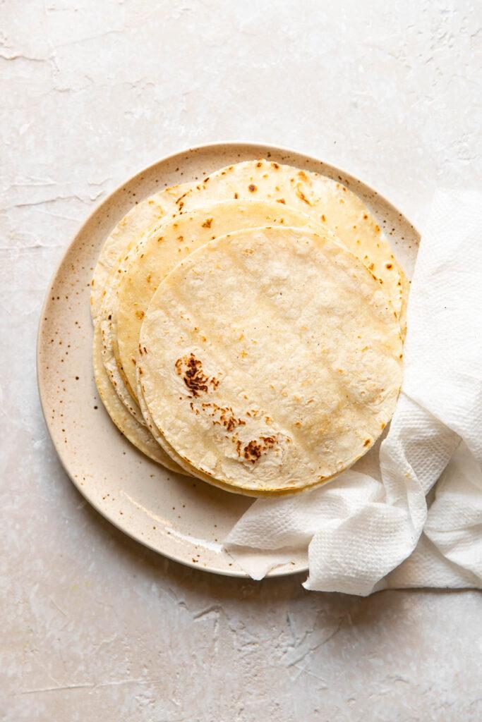 Plate of corn tortillas.