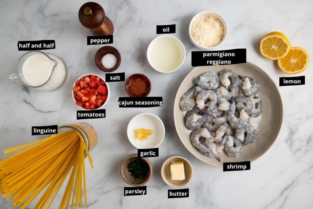 visual list of cajun shrimp pasta ingredients