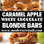 caramel apple blondie bars with white chocolate chips inside