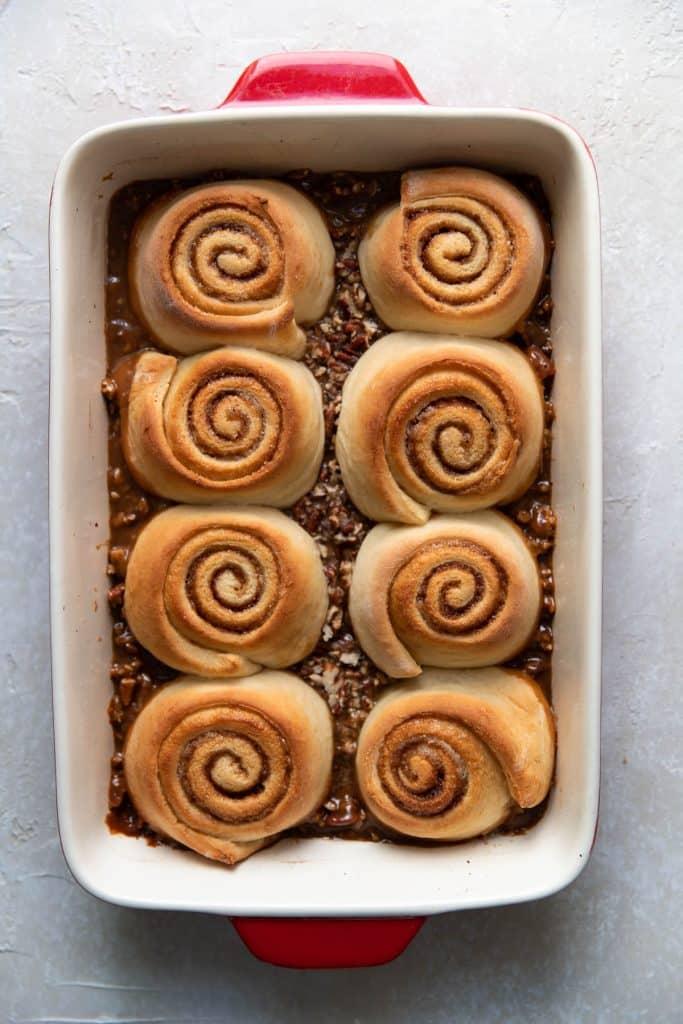 pecan buns after baking