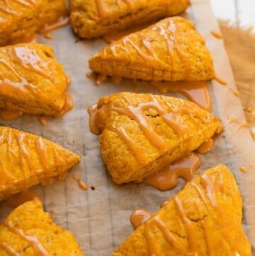 pumpkin scones with a pumpkin glaze drizzle