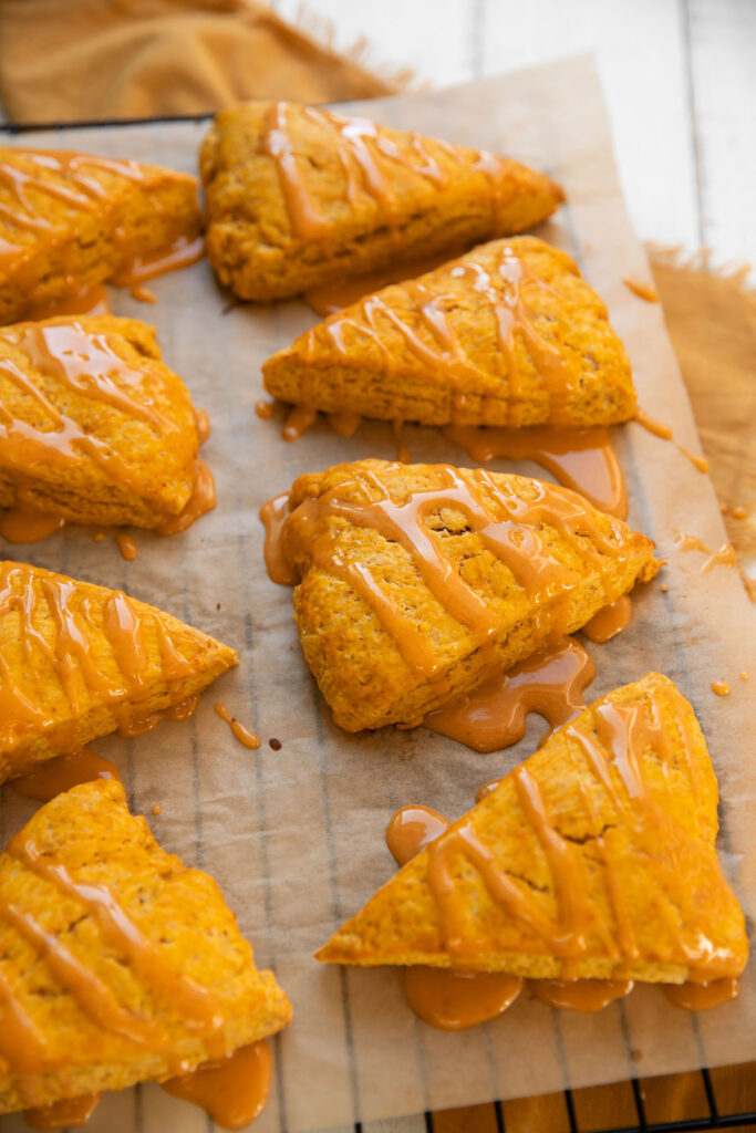 pumpkin scones with a pumpkin glaze drizzle