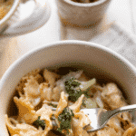bow tie pasta with shredded chicken broccoli and cheese sauce
