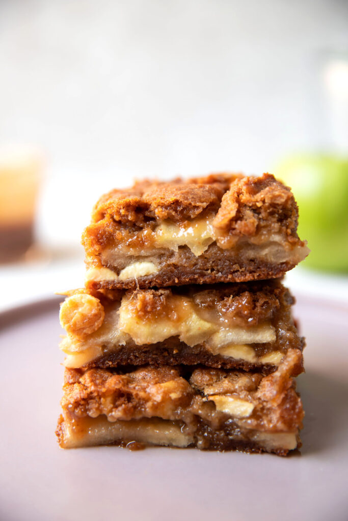 caramel apple white chocolate blondie bars