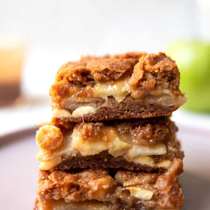 caramel apple white chocolate blondie bars