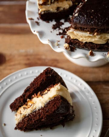 Cheesecake layered between chocolate cake and salted caramel with pecans