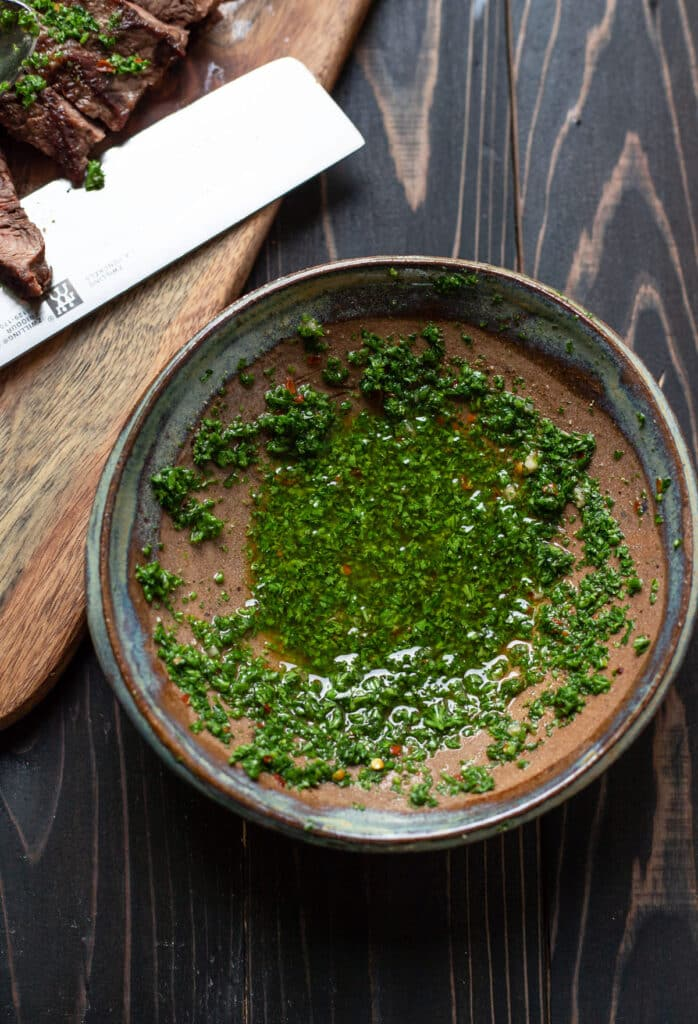bowl of chimichurri sauce