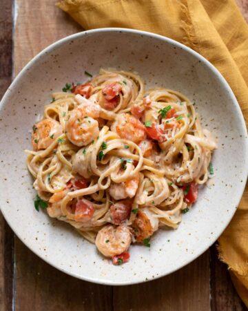 bowl of shrimp cajun linguine pasta