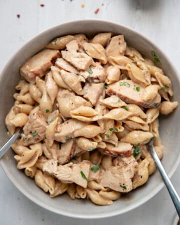 pasta with a creamy garlic parmesan sauce and chicken