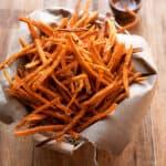 crispy sweet potato fries in a basket
