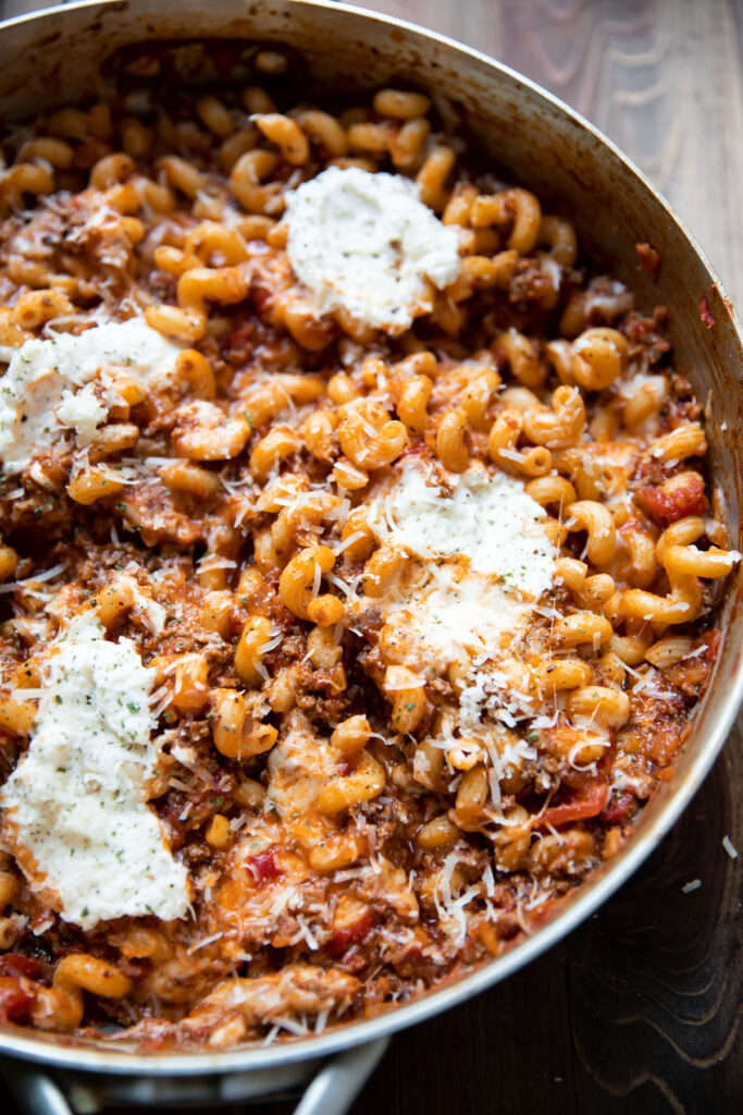one pan stovetop lasagna with ground beef and ricotta cheese