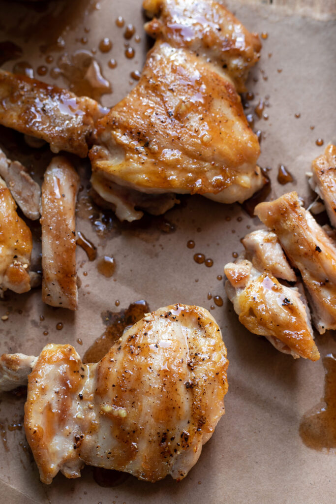 sweet and sticky honey garlic sesame chicken thighs