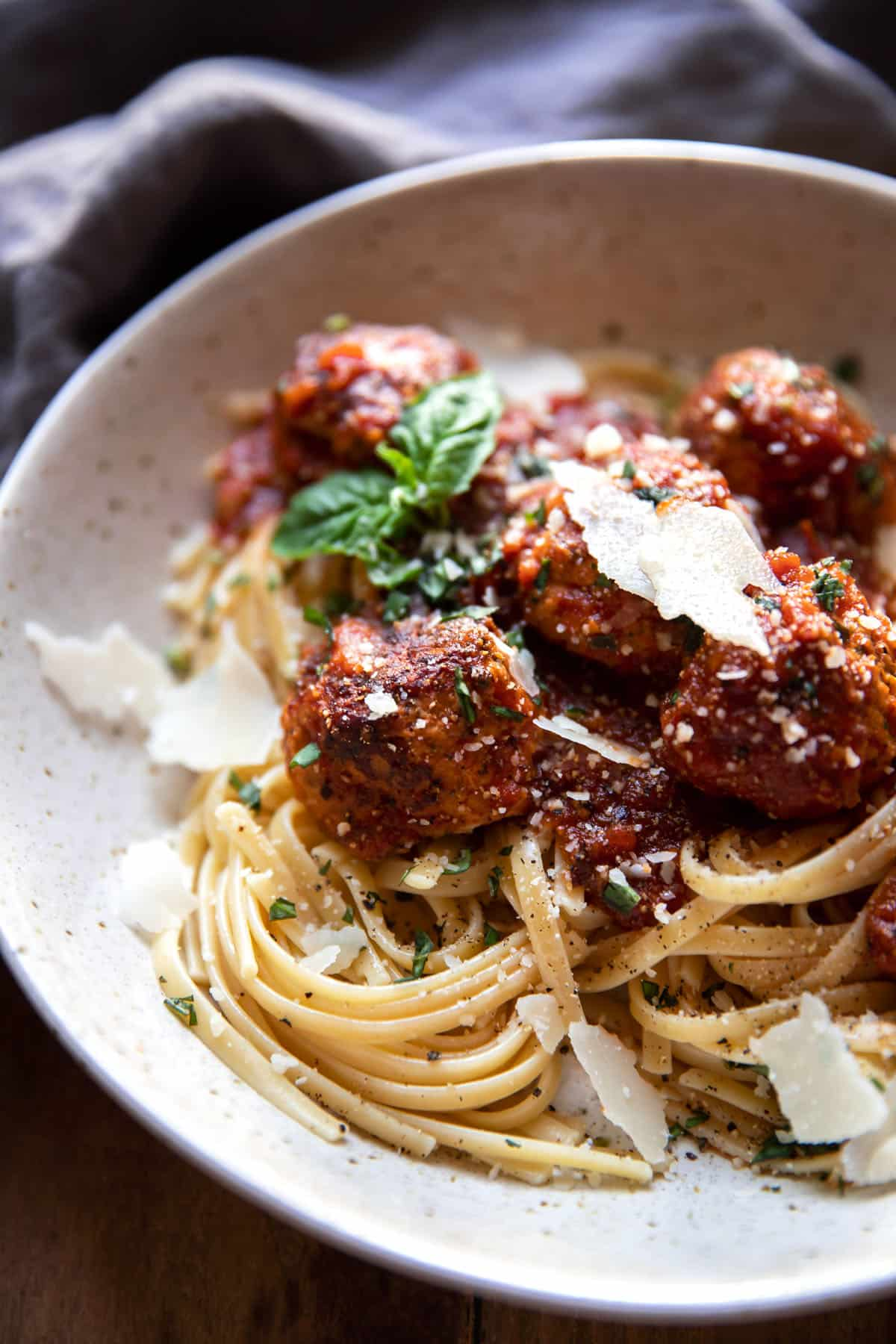 linguine pasta with herb turkey meatballs and pasta sauce
