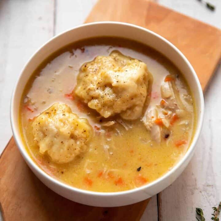 homemade chicken and thyme dumplings