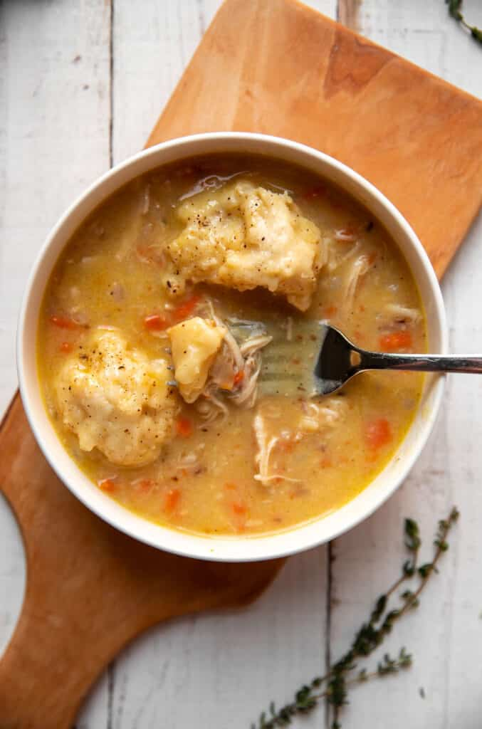 savory chicken and dumplings with carrots