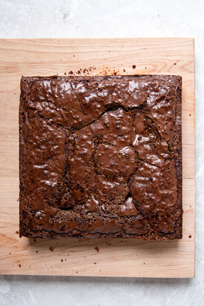 A batch of brownies out of the pan, before being cut into squares.