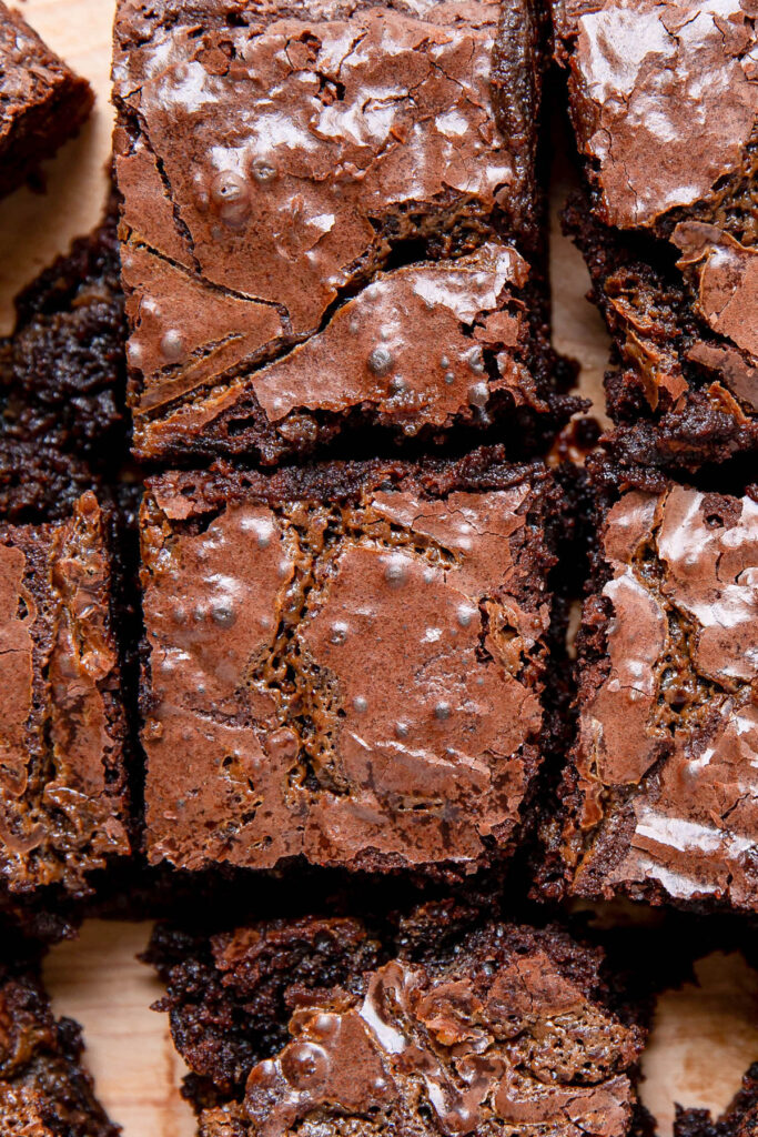Up close image of a fudge brownie.