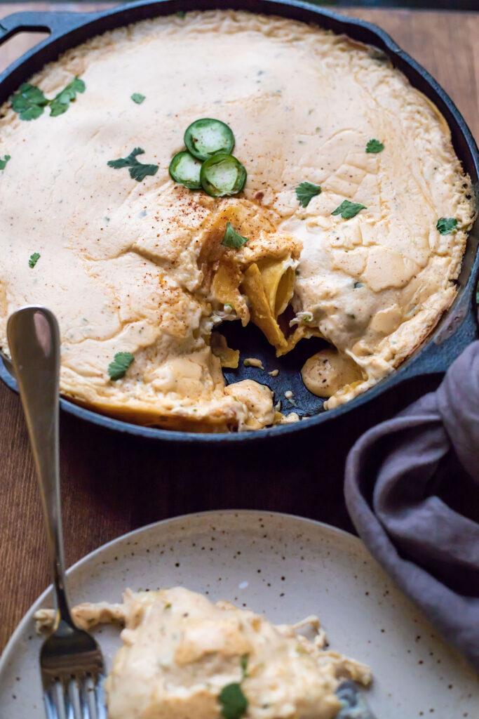 Skillet Jalapeño Cream Cheese Chicken Enchiladas