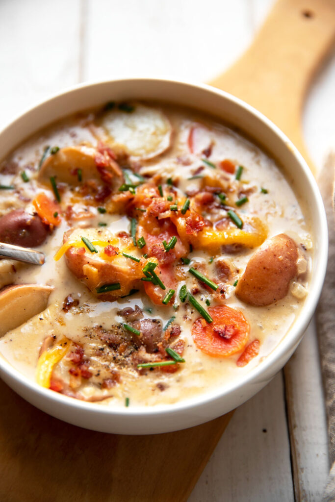 loaded baked potato chowder soup with chives