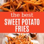 crispy sweet potato fries thin cut in a basket
