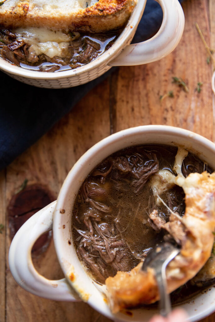 bowl of pot roast and french onion