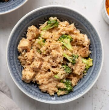 cheddar cheese risotto with chicken breast and broccoli