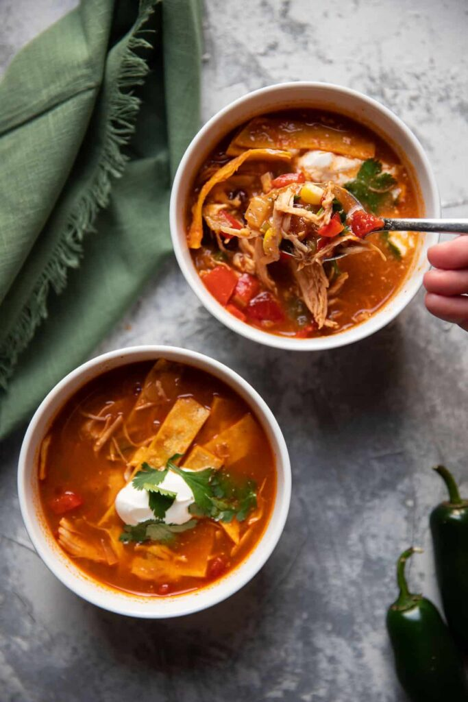 chicken tortilla soup freezer friendly with black beans and corn