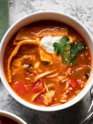 bowl of chicken tortilla soup.