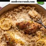 lemon chicken and rice in a pan.