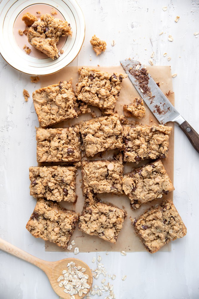 cut up peanut butter chocolate chip cookie bar squares