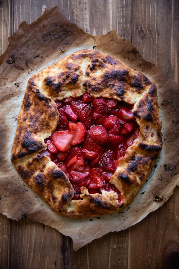 30 minute strawberry and basil galette