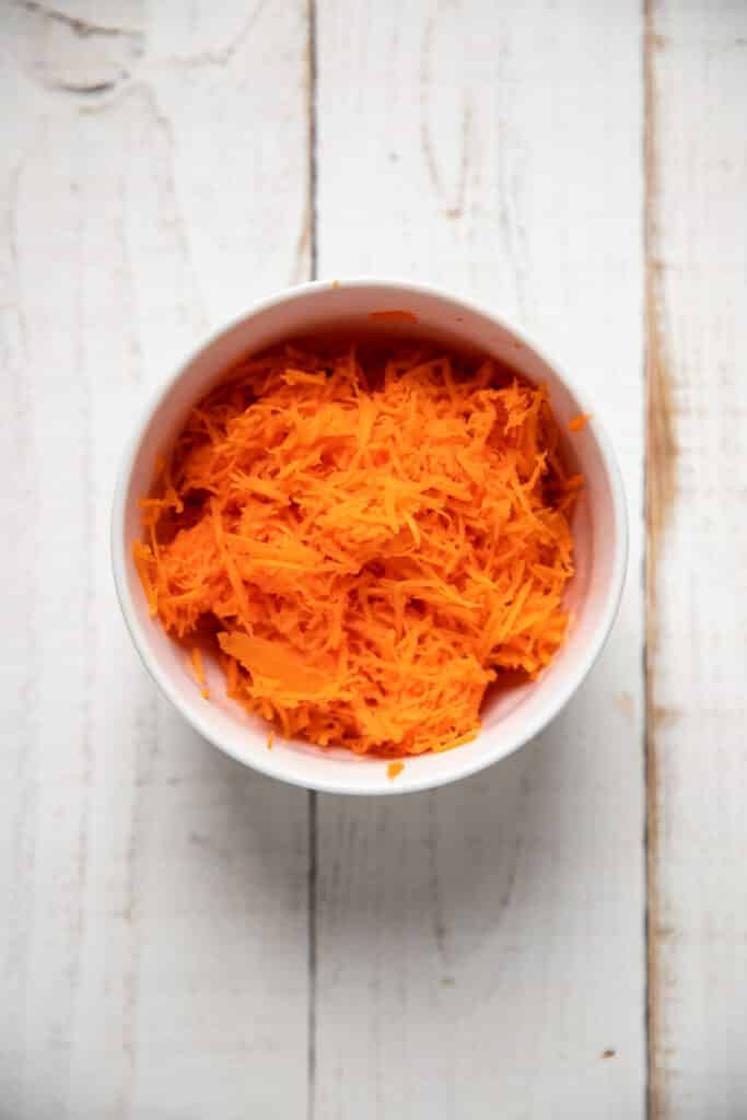 shredded carrots in a bowl