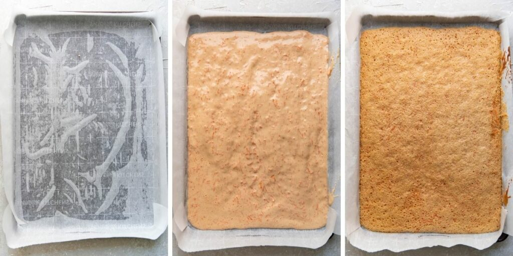 Carrot cake process steps from lining the baking sheet to after it is cooked.