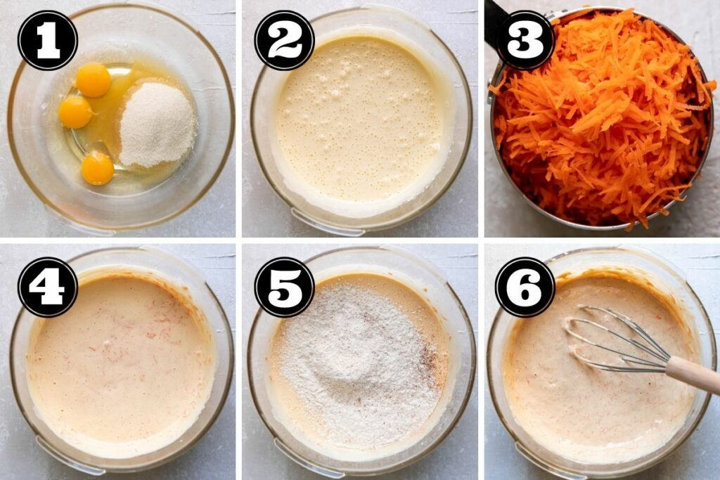 Six steps for adding the wet ingredients for carrot cake roll.