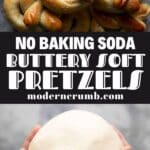 soft pretzels without baking soda with a title text overlay